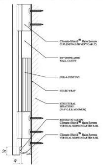Climate Shield Rainscreen Vertical siding installation assembly