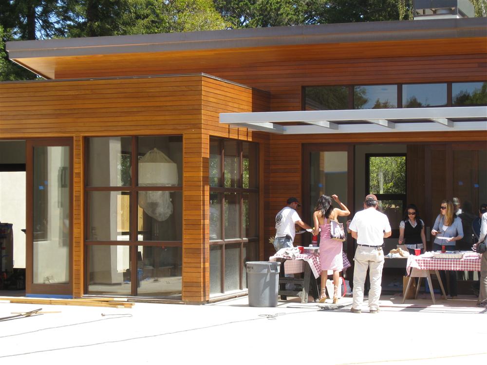 Hillsborough, California residence constructed with a hidden rain screen clip using Ipe hardwood.