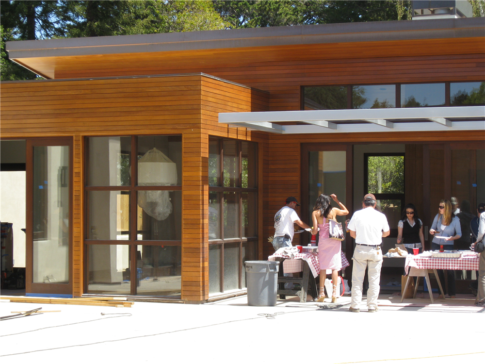 Hillsborough, California residence constructed with a hidden rain screen clip using Ipe hardwood.